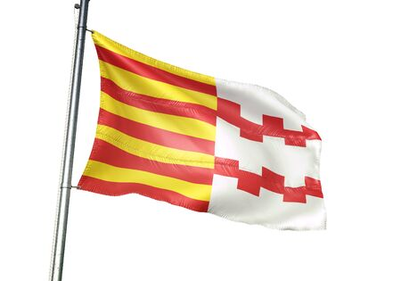 Hamont-Achel of Belgium flag waving isolated on white background realistic 3d illustration Stock Photo