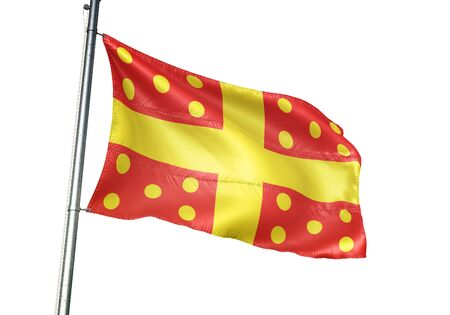 Harelbeke of Belgium flag waving isolated on white background realistic 3d illustration Stock Photo