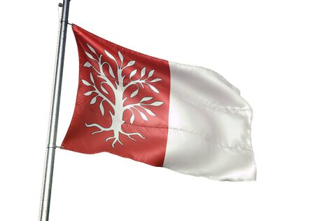 Herentals of Belgium flag waving isolated on white background realistic 3d illustration Stock Photo