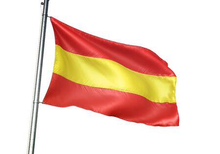 Herk-de-Stad of Belgium flag waving isolated on white background realistic 3d illustration Stock Photo