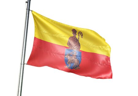 Herstal of Belgium flag waving isolated on white background realistic 3d illustration