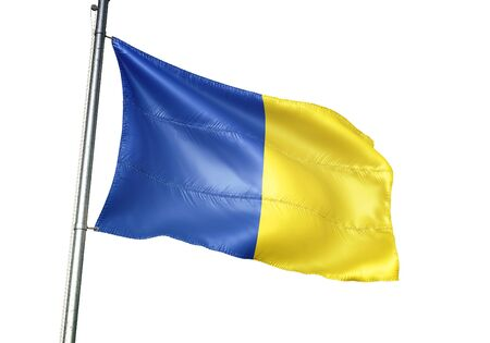 Herve of Belgium flag waving isolated on white background realistic 3d illustration