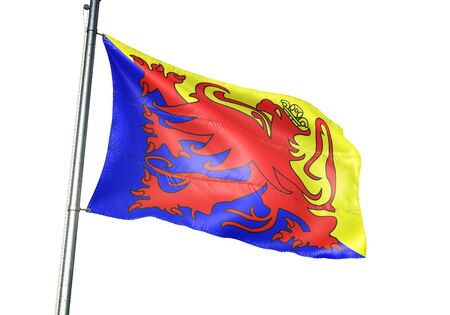 Sint-Truiden of Belgium flag waving isolated on white background realistic 3d illustration