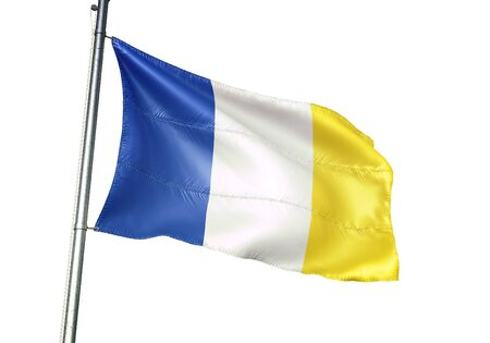 Stavelot of Belgium flag waving isolated on white background realistic 3d illustration