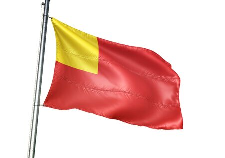 Vilvoorde of Belgium flag waving isolated on white background realistic 3d illustration Stock Illustration - 128867122