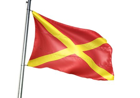 Virton of Belgium flag waving isolated on white background realistic 3d illustration