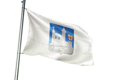 Walcourt of Belgium flag waving isolated on white background realistic 3d illustration