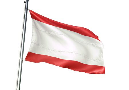 Antwerp of Belgium flag waving isolated on white background realistic 3d illustration Stock Illustration - 128867289