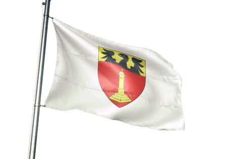 Chatelet of Belgium flag waving isolated on white background realistic 3d illustration