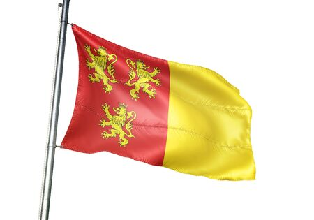 Chievres of Belgium flag waving isolated on white background realistic 3d illustration