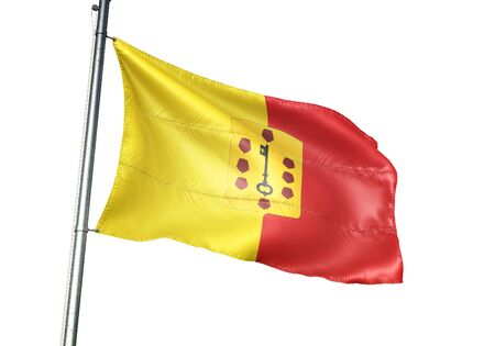 Comines-Warneton of Belgium flag waving isolated on white background realistic 3d illustration