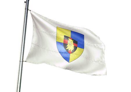 Couvin of Belgium flag waving isolated on white background realistic 3d illustration Stock Illustration - 128867306