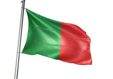 Fosses-la-Ville of Belgium flag waving isolated on white background realistic 3d illustration Stock Illustration - 128867308