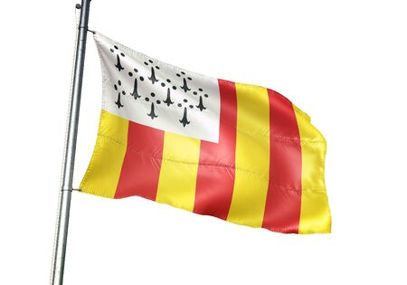 Geel of Belgium flag waving isolated on white background realistic 3d illustration Stock Photo
