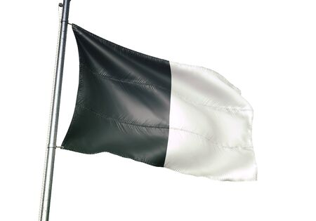 Gembloux of Belgium flag waving isolated on white background realistic 3d illustration Stock Photo