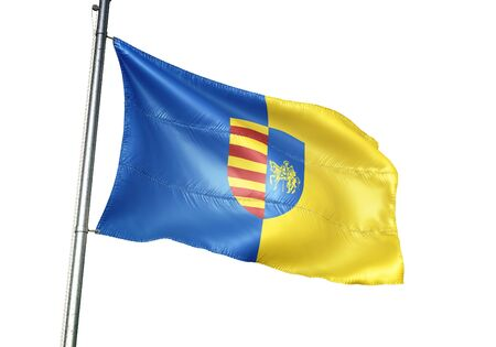 Genk of Belgium flag waving isolated on white background realistic 3d illustration