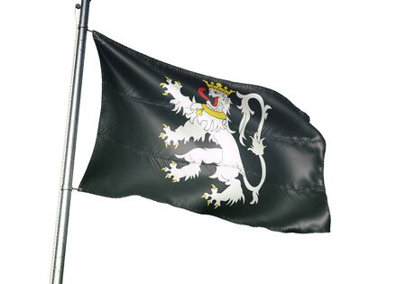 Gent Ghent of Belgium flag waving isolated on white background realistic 3d illustration