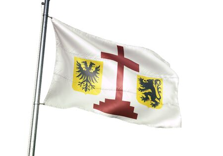 Geraardsbergen of Belgium flag waving isolated on white background realistic 3d illustration