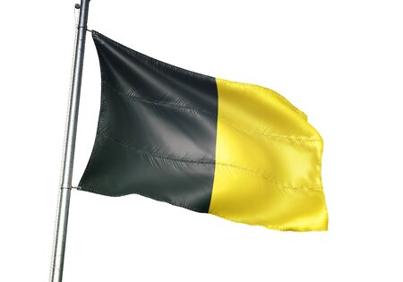 Jodoigne of Belgium flag waving isolated on white background realistic 3d illustration Stock Photo