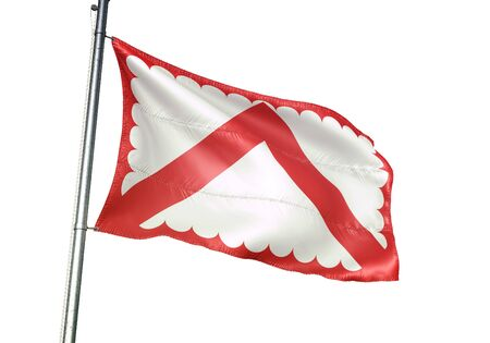 Kortrijk of Belgium flag waving isolated on white background realistic 3d illustration