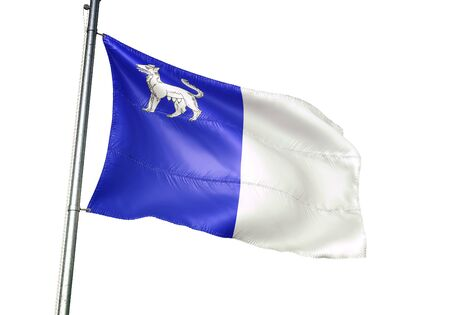 La Louviere of Belgium flag waving isolated on white background realistic 3d illustration