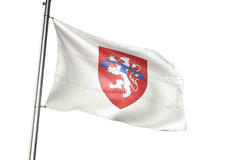 La-Roche-en-Ardenne of Belgium flag waving isolated on white background realistic 3d illustration