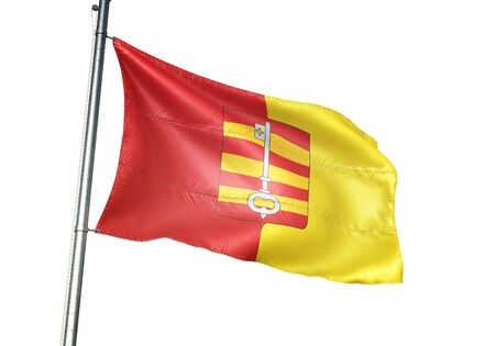 Lessines of Belgium flag waving isolated on white background realistic 3d illustration