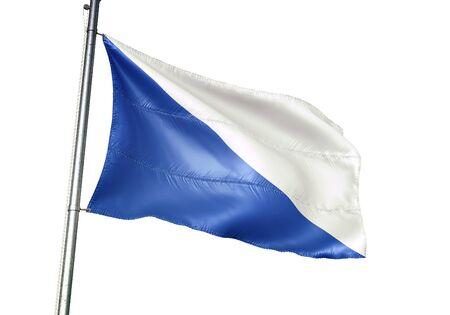 Leuze-en-Hainaut of Belgium flag waving isolated on white background realistic 3d illustration Stock Illustration - 128867378