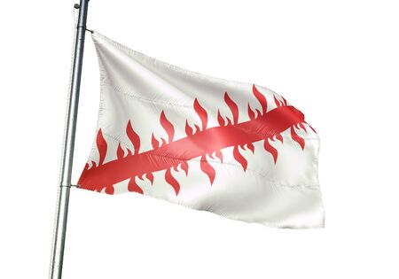 Mouscron of Belgium flag waving isolated on white background realistic 3d illustration Stock Illustration - 128867379