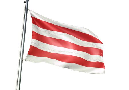 Lier of Belgium flag waving isolated on white background realistic 3d illustration Stock Illustration - 128867397
