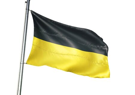 Namur of Belgium flag waving isolated on white background realistic 3d illustration