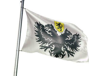 Lo-Reninge of Belgium flag waving isolated on white background realistic 3d illustration Stock Illustration - 128867636