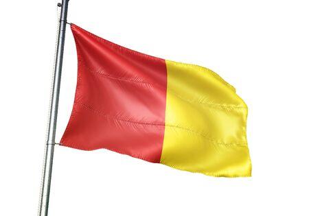 Luik of Belgium flag waving isolated on white background realistic 3d illustration Stock Illustration - 128867632