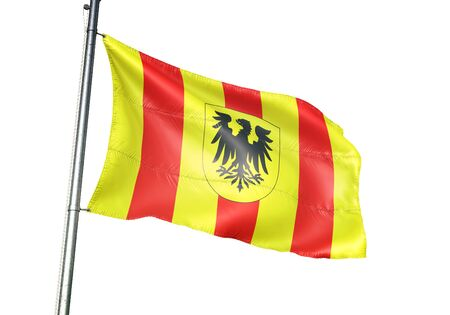Mechelen of Belgium flag waving isolated on white background realistic 3d illustration