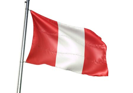 Mons of Belgium flag waving isolated on white background realistic 3d illustration