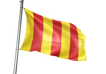 Mortsel of Belgium flag waving isolated on white background realistic 3d illustration