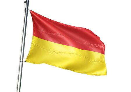 Ostend of Belgium flag waving isolated on white background realistic 3d illustration Stock Photo