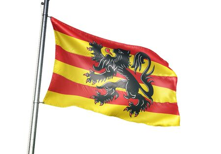 Oudenaarde of Belgium flag waving isolated on white background realistic 3d illustration