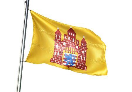 Oudenburg of Belgium flag waving isolated on white background realistic 3d illustration Stock Illustration - 128867663