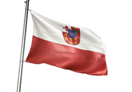 Waregem of Belgium flag waving isolated on white background realistic 3d illustration