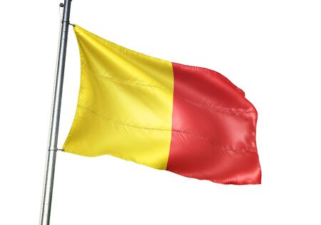 Wervik of Belgium flag waving isolated on white background realistic 3d illustration