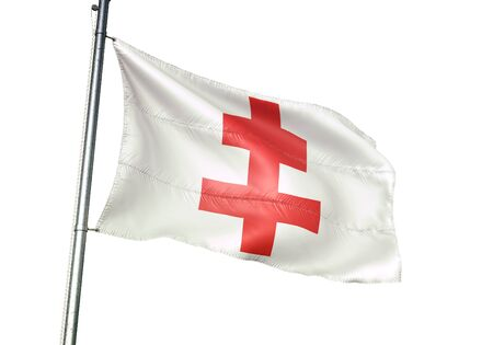 Ypres of Belgium flag waving isolated on white background realistic 3d illustration