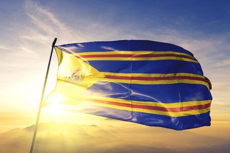 Catanduva of Brazil flag textile cloth fabric waving on the top sunrise mist fog Zdjęcie Seryjne