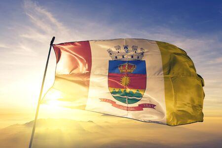 Sobral of Brazil flag textile cloth fabric waving on the top sunrise mist fog Zdjęcie Seryjne