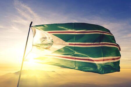 Toledo of Brazil flag textile cloth fabric waving on the top sunrise mist fog Zdjęcie Seryjne
