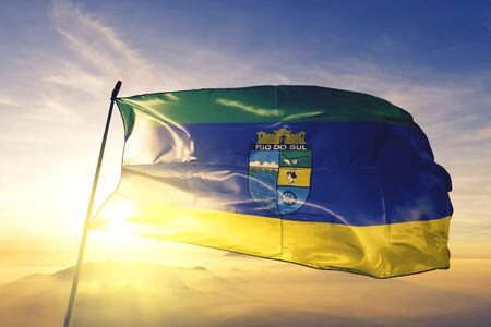 Rio do Sul of Brazil flag textile cloth fabric waving on the top sunrise mist fog Zdjęcie Seryjne - 132600036