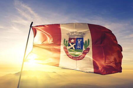 Paulo Afonso of Brazil flag textile cloth fabric waving on the top sunrise mist fog Zdjęcie Seryjne