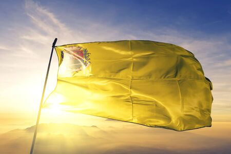 Sertaozinho of Brazil flag textile cloth fabric waving on the top sunrise mist fog Zdjęcie Seryjne - 132599936
