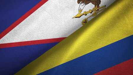 American Samoa and Colombia flags together textile cloth, fabric texture 版權商用圖片