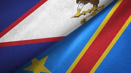 American Samoa and Congo Democratic Republic two folded flags together Standard-Bild - 134785770